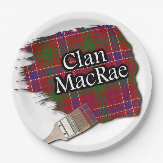 Clan MacRae Scottish Tartan Paint Brush Paper Plate