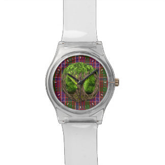 Clan MacRae Tartan And Celtic Tree Of Life Wristwatches