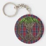 Clan MacTavish Tartan And Celtic Tree Of Life Basic Round Button Keychain