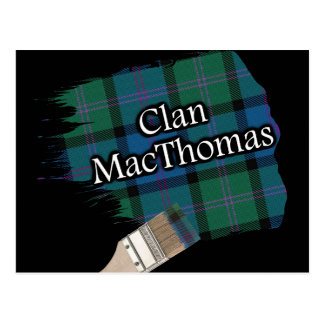 Clan MacThomas Scottish Tartan Paint Brush Postcard