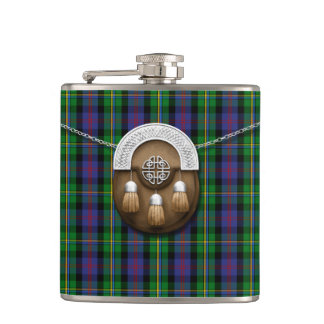 Clan Malcolm Tartan And Sporran Hip Flask
