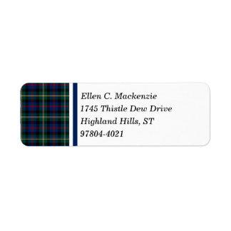 Clan Malcolm Tartan Return Address Label
