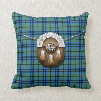 Clan Marshall Tartan And Sporran Throw Pillow