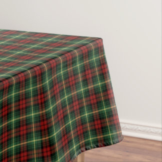 Clan Martin Green and Red Scottish Tartan Tablecloth