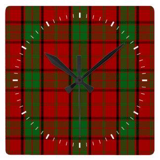 Clan Maxwell Tartan Square Wall Clock