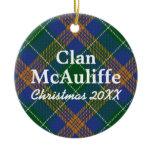 Clan McAuliffe Irish Tartan Ceramic Ornament
