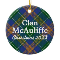 Clan McAuliffe Irish Tartan Ceramic Ornament
