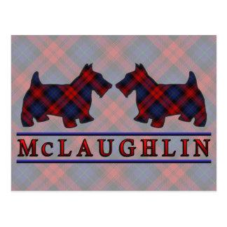 Clan McLaughlin MacLachlan Tartan Scottie Dogs Postcard