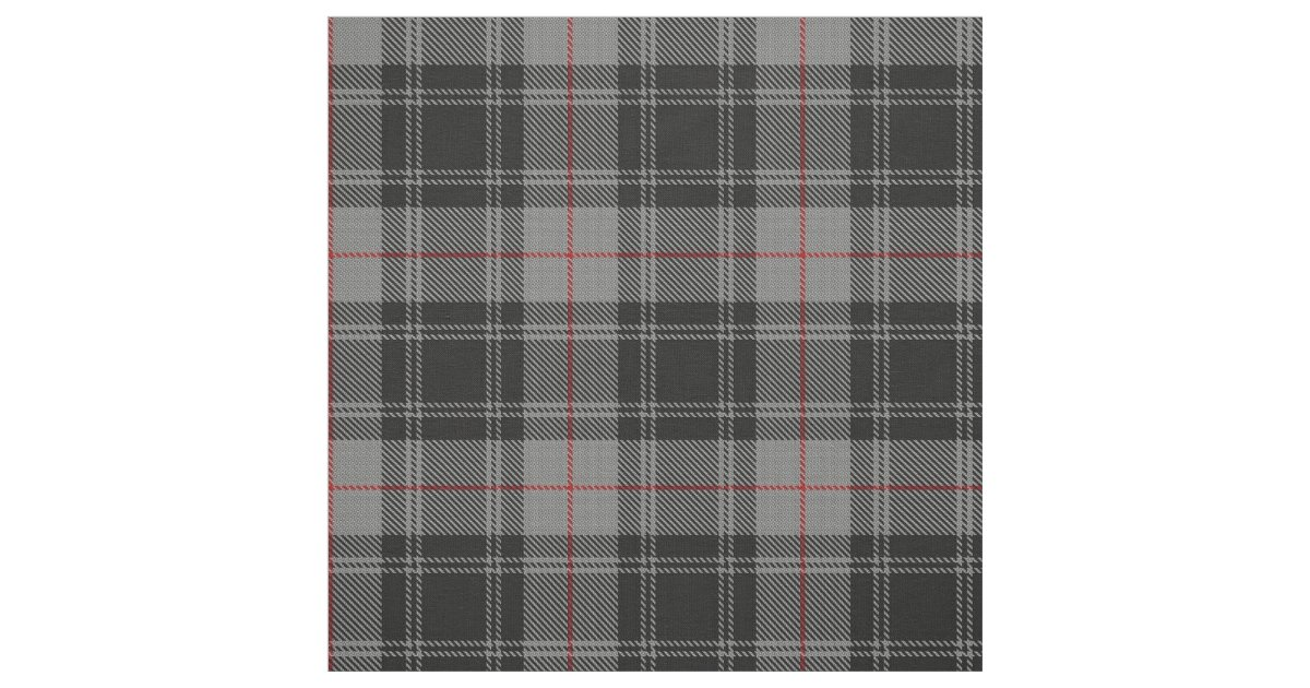 Clan Moffat Gray Black Red Scottish Tartan Plaid Fabric