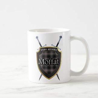 Clan Moffat Tartan Shield and Swords Coffee Mug