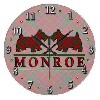 Clan Monroe Munro Tartan Scottie Dogs Large Clock