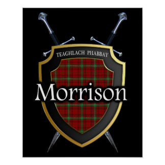 Clan Morrison Tartan Scottish Shield & Swords Poster