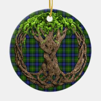 Clan Muir Tartan And Celtic Tree Of Life Christmas Tree Ornaments