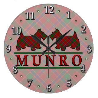 Clan Munro Tartan Scottie Dogs Large Clock