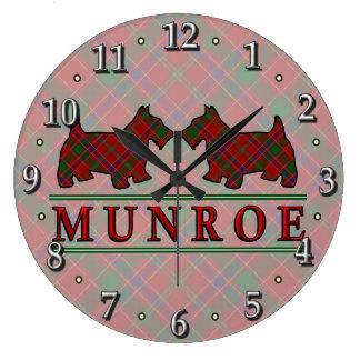 Clan Munroe Munro Tartan Scottie Dogs Large Clock