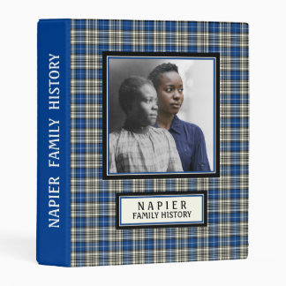 Clan Napier Tartan Royal Blue Plaid Mini Binder