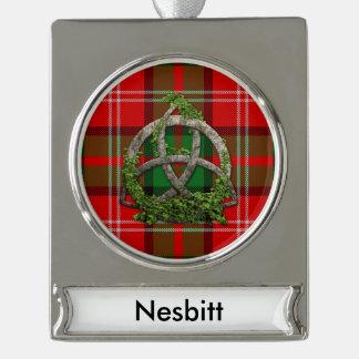 Clan Nesbitt Tartan Celtic Trinity Silver Plated Banner Ornament