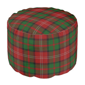 Clan Nisbet Scottish Style Red Green Tartan Pouf