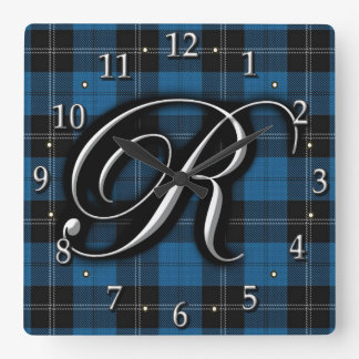 Clan Ramsay Ramsey Letter R Monogram Blue Tartan Square Wall Clock