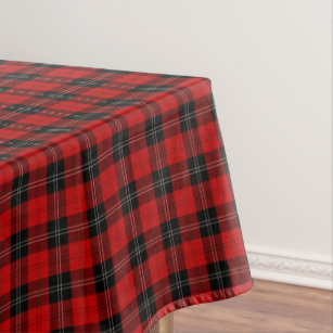 Clan Ramsay Red Black And White Scottish Tartan Tablecloth