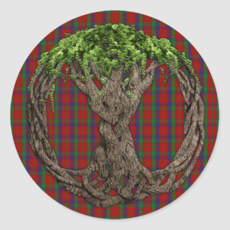 Clan Robertson Tartan And Celtic Tree Of Life Classic Round Sticker