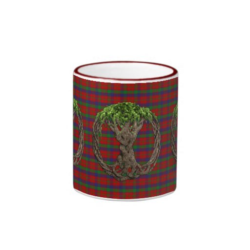 Clan Robertson Tartan And Celtic Tree Of Life Ringer Coffee Mug