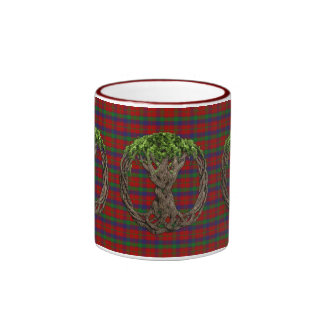 Clan Robertson Tartan And Celtic Tree Of Life Ringer Mug