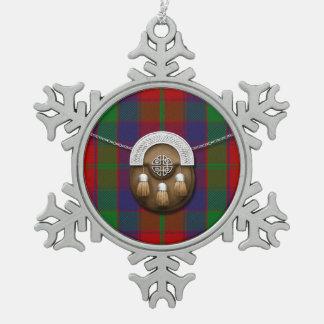 Clan Robertson Tartan And Sporran Snowflake Pewter Christmas Ornament