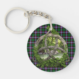 Clan Russell Tartan Celtic Trinity Double-Sided Round Acrylic Keychain