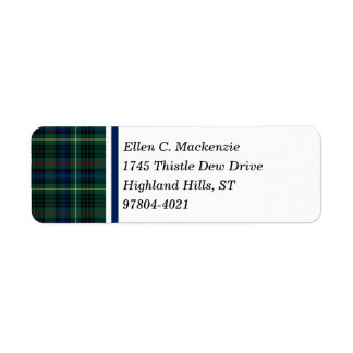 Clan Stewart Green and Blue Hunting Tartan Label