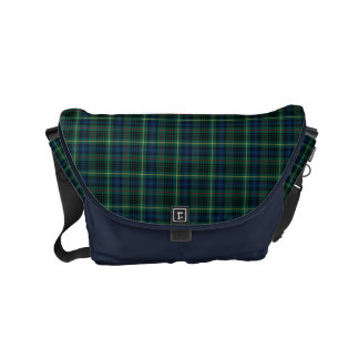 Clan Stewart Green Scottish Hunting Tartan Small Messenger Bag