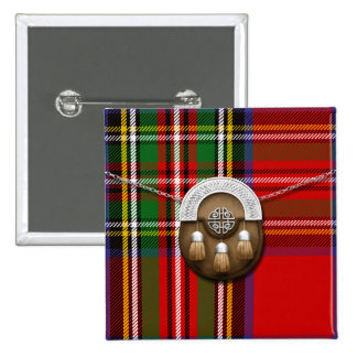 Clan Stewart Tartan And Sporran Button