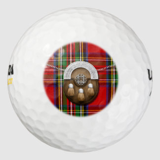 Clan Stewart Tartan And Sporran Golf Balls