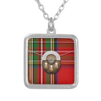 Clan Stewart Tartan And Sporran Square Pendant Necklace