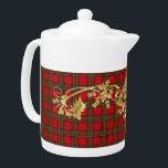 "Clan Stewart Tartan Pattern & Scottish Thistle Teapot<br><div class=""desc"">Clan Stewart Tartan Pattern for & faux golden Scottish Thistle tea pot set. Check out pitcher and mug.</div>"