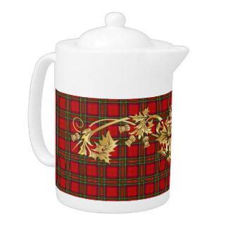 Clan Stewart Tartan Pattern & Scottish Thistle Teapot