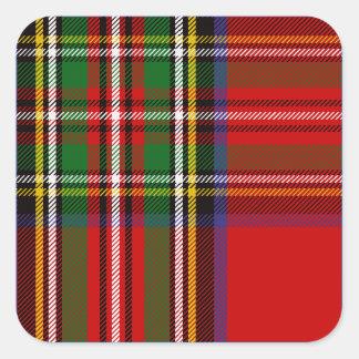 Clan Stewart Tartan Square Sticker