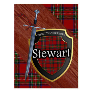 Clan Stewart Tartan Sword & Shield Postcard