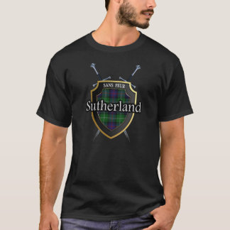 Clan Sutherland Tartan Scottish Shield & Swords T-Shirt