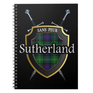 Clan Sutherland Tartan Shield & Swords Notebook