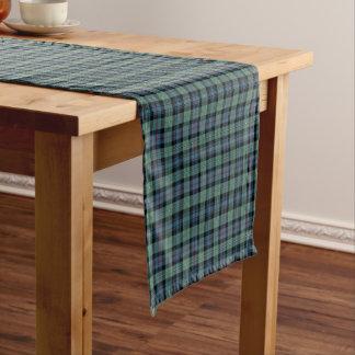 Clan tartán antiguo verde claro y azul de camino de mesa corto