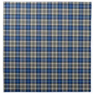 Clan tartán escocés azul, negro, y blanco de servilletas