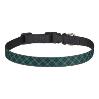 Clan tartán escocés azul y verde de Ferguson Collares Para Perros