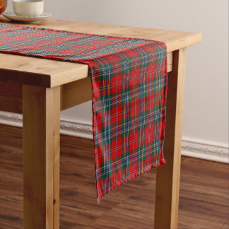 Clan tartán escocés rojo, azul y verde de MacLean Camino De Mesa Corto