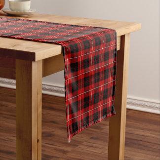 Clan tartán escocés rojo y negro de Cunningham Camino De Mesa Corto