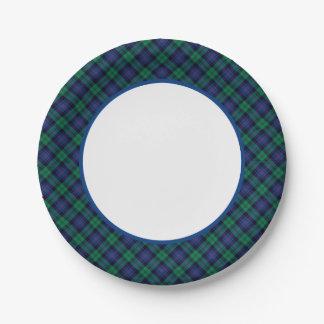 Clan tartán escocés verde y azul de Armstrong Plato De Papel De 7 Pulgadas