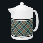 """Clan Thompson Light Brown and Blue Hunting Tartan Teapot<br><div class=""""desc"""">Teapot with the clan hunting tartan for the Thompson family and its septs. Vintage Scottish plaid pattern in light brown,  blue and black,  with bright green highlights. Choose from two sizes. Matching mugs and teacups available.</div>"""