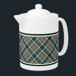 "Clan Thompson Light Brown and Blue Hunting Tartan Teapot<br><div class=""desc"">Teapot with the clan hunting tartan for the Thompson family and its septs. Vintage Scottish plaid pattern in light brown,  blue and black,  with bright green highlights. Choose from two sizes. Matching mugs and teacups available.</div>"