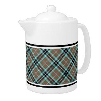 Clan Thompson Light Brown and Blue Hunting Tartan Teapot