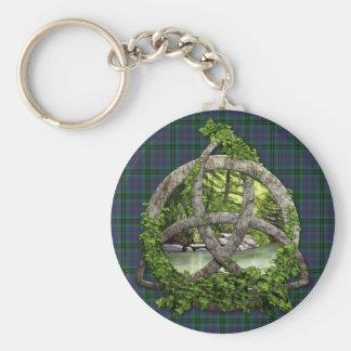 Clan Walker Tartan Celtic Trinity Basic Round Button Keychain